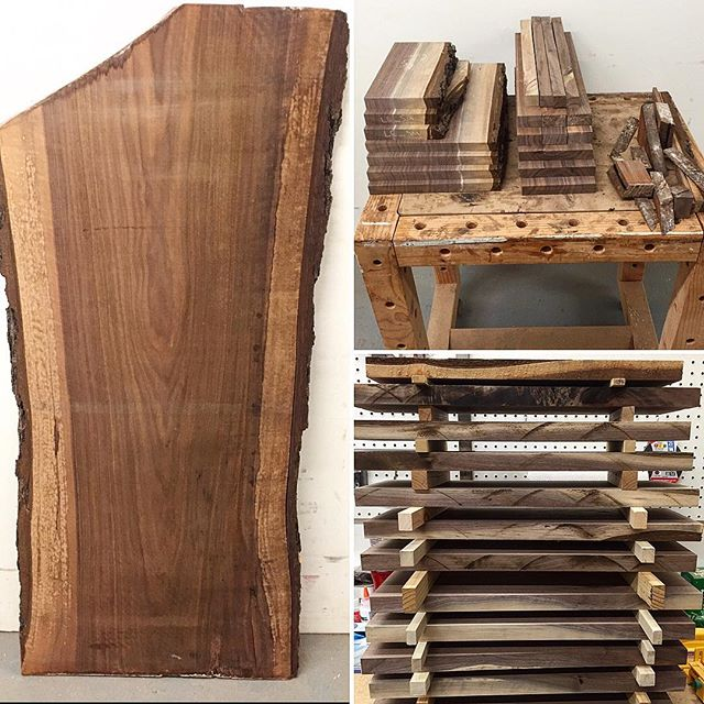 Before, during and after of a slab that was cupped and just a bit too thin to plane flat whole.  The little bit of waste you see on the side makes for great kindling too! #boardsboardsboards . . . . . . . #wallacemade #housewarming #giftideas #cheeseboard #cheese #charcuterie #charcuterieboard #custom #custommade #handmade #wood #handmade #walnut #urbanlumber #cuttingboard #woodworking #diy #make #maker #makesomething #makersgonnamake #home #foodie #homegoods #kitchen #kitchenware #homeaccessories #veteranowned #madeinusa #shoplocal