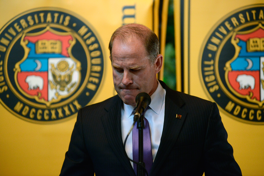 Tim Wolfe resigns as president of the UM System at a Board of Curators meeting on Monday, Nov. 9, 2015. His resignation came one week and one hour after graduate student Jonathan Butler began a hunger strike.  Photo by Justin L. Stewart/Missourian