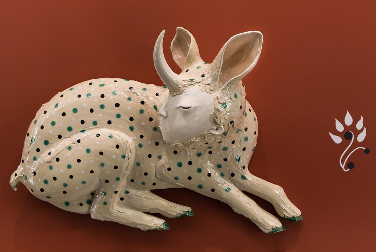 The Deer of Nine Colours – The Deer on the Side, 2017 w62cm x h42cm x d20cm Glazed earthenware