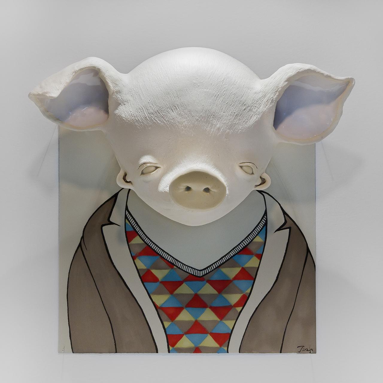 Dislocation Series – Swine, 2016 w37cm x h38cm x d15cm Glazed earthenware, paper, ink, marker