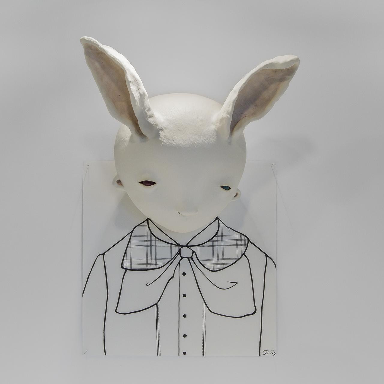Dislocation Series – Hare,2016 w29cm, h43cm, d15cm Glazed earthenware, paper, ink