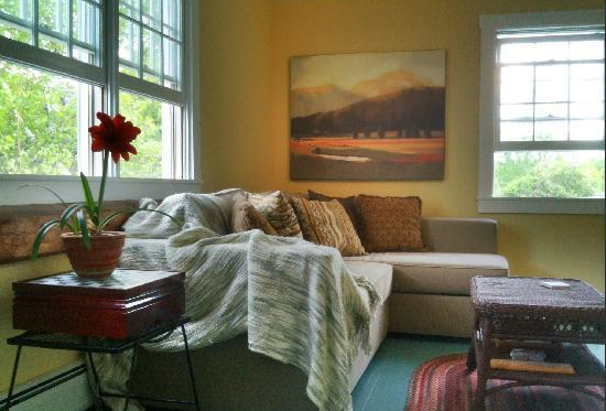 The Sunroom makes for a cozy spot to relax and read during your getaway.