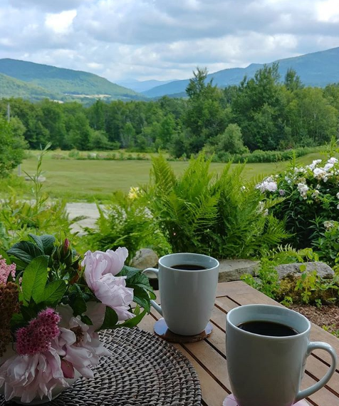 Guests at our B&B enjoy a cup of tea or coffee and the view from our Vermont Bed and Breakfast.