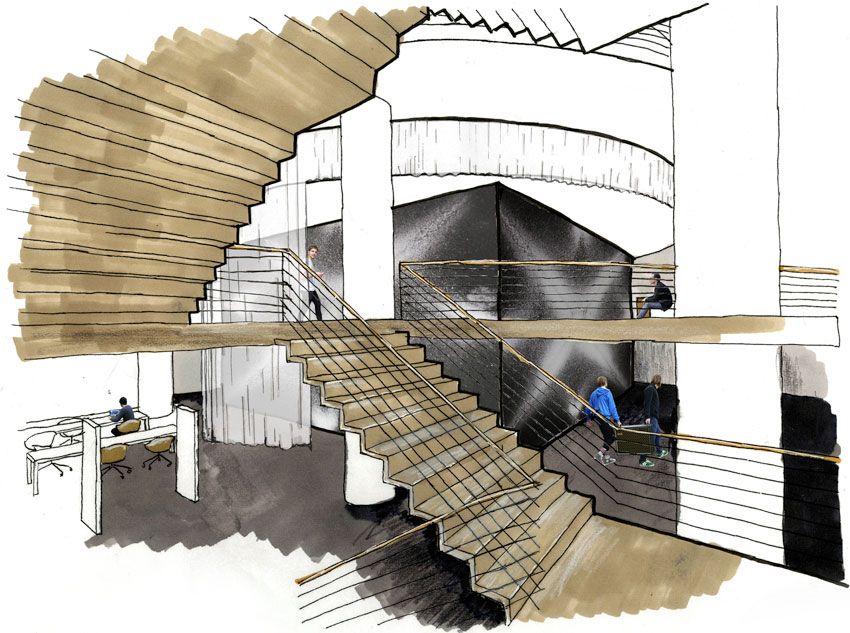Public Space:  Stairs, Public space outside of performance spaces