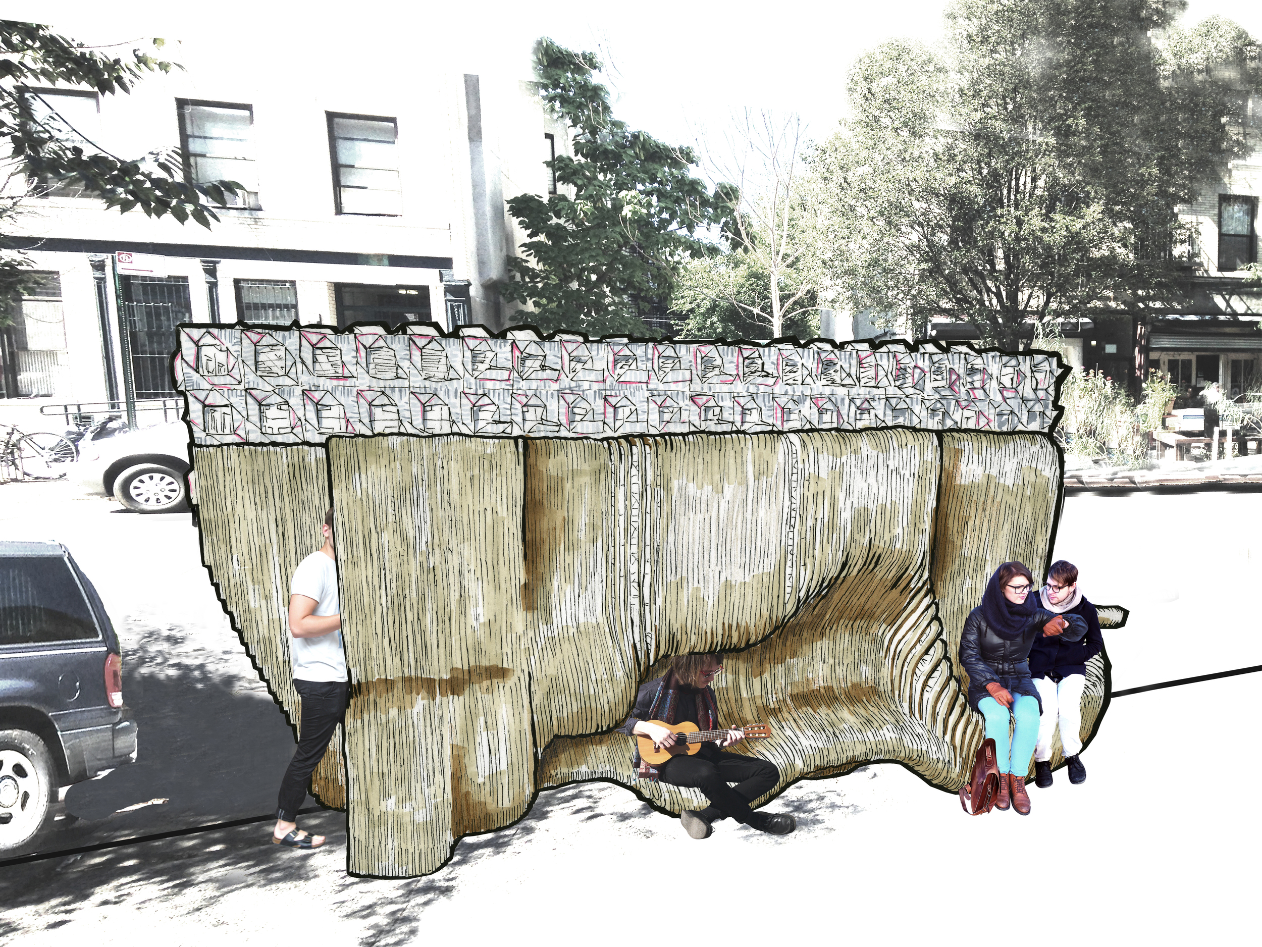 The Body Wall:  The street-side of the body wall provides places and positions for pedestrians to lean, wait and sit.