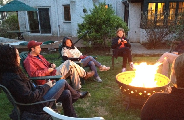 Writing by day, storytelling by firelight at night.