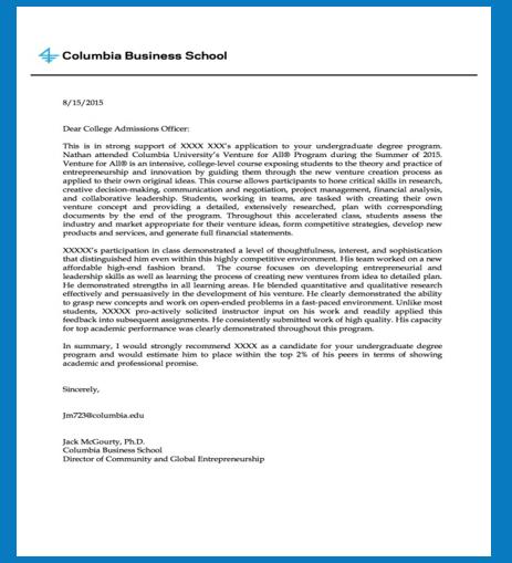 Columbia Acceptance Letter.Cbs Vfa Application International Academic Alliance