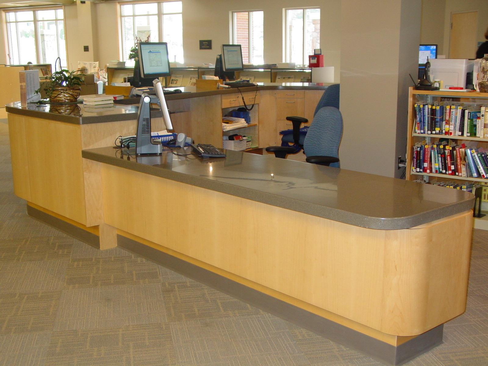 Custom Maple & Corian Reception Desk -Transylvania County Library-
