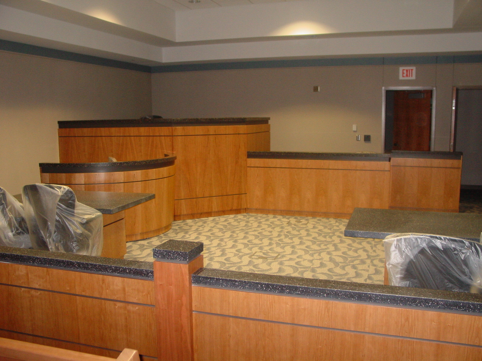 Union County Courtroom -Custom Sequenced Match Cherry and Corian-