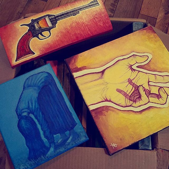 I'm going to have over 40 pieces at the show tonight at @daytripstudios . Come have a shot of tequila with me. Link to event in bio  #art #artshow #painting #acrylic #hand #gun #shot #woman #blue #yellow #asseeninmansfield #mansfieldart