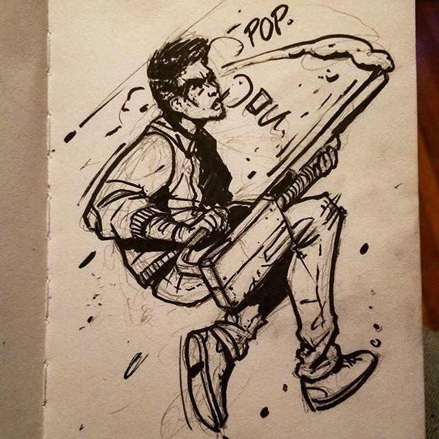 Side shottie  #sketch #sketchbook #shotgun #comic #jump #spin #shell #action