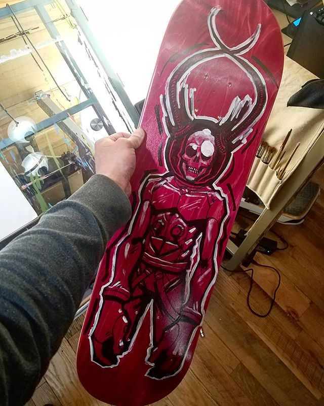 Think it's done!  #skateboard #skull #astronaut #illustration #painting #sharpie
