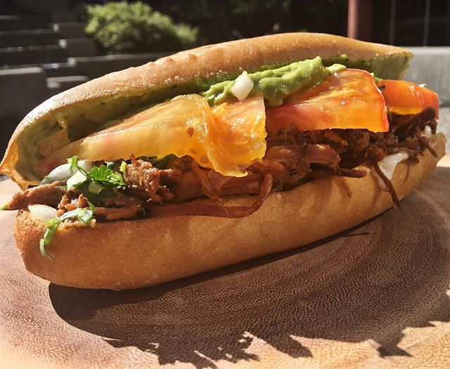 For this weeks sub of the week we've got a celebrity sub 😜 by chef @nico_9123 . All proceeds go to help raise money for his nephew Grayson Levi. Come and get it! Beef Carnitas //Guacamole// love apple tomatoes!