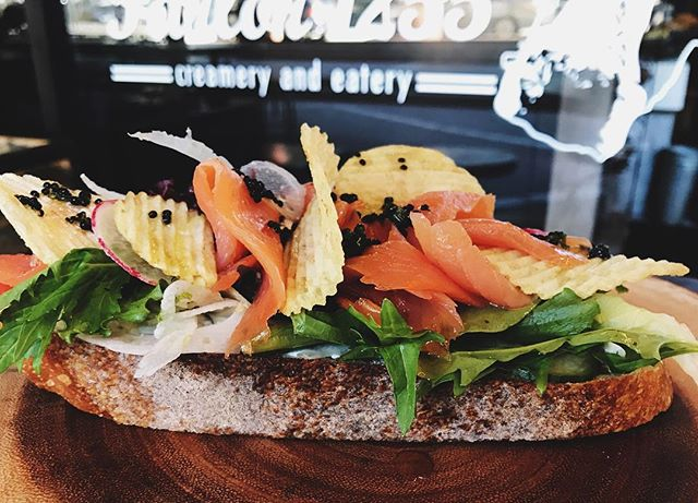 Last day to try our special of the week Tartine: Smoked Salmon Tartine with caviar, goat cheese, radish, mix greens + potato chips 😋  #food #foodporn #foodshare #foodie #sffood #salmon #seasonal #organic #fresh
