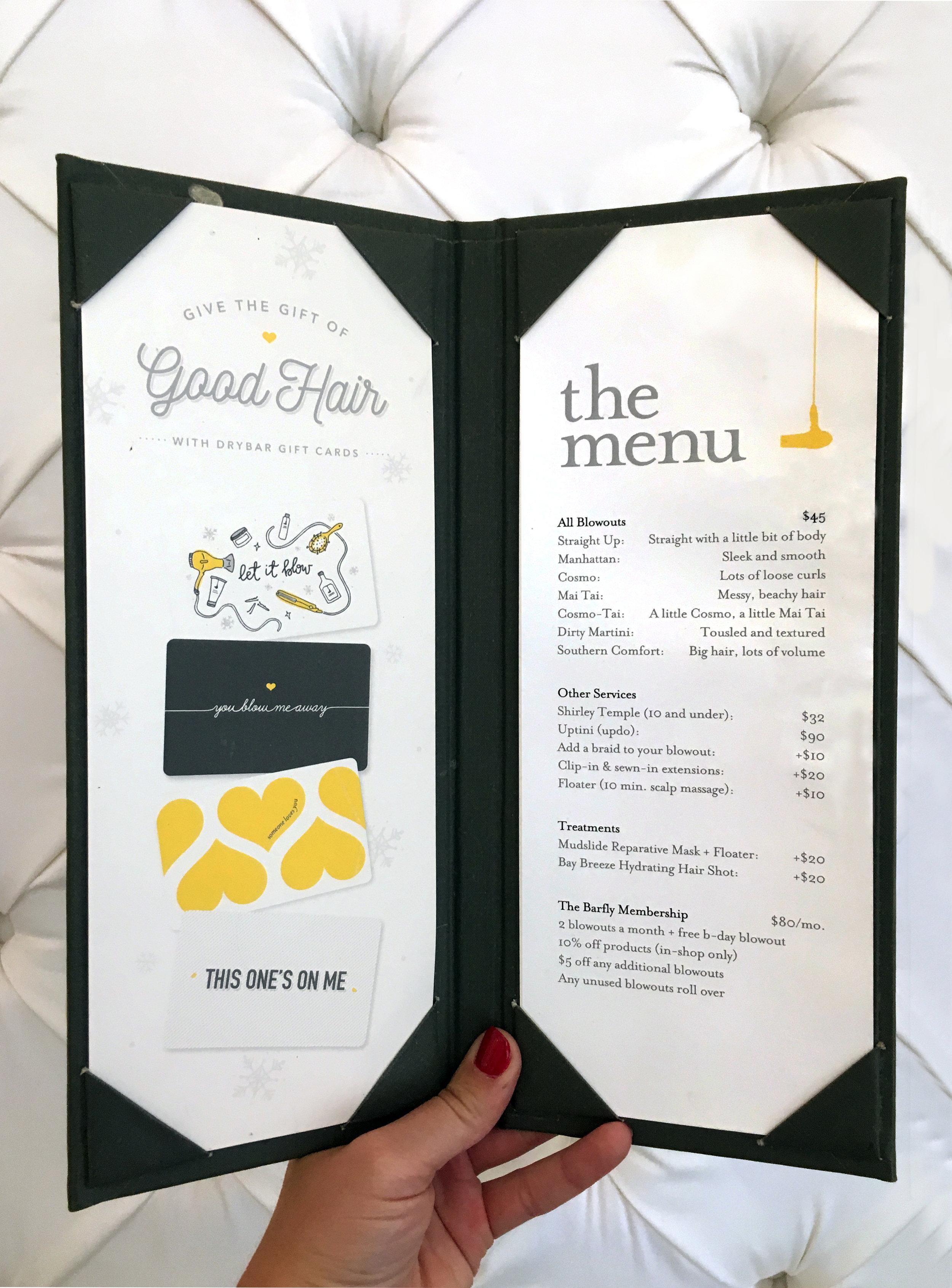 gift card in menu