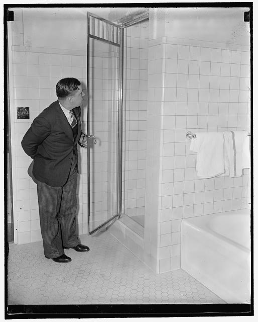 Ickes new bathroom. Shower in Sec. Ickes office, new interim bldg. Contributor Names Harris and Ewing, photographer Created Published ca. 1937 22525r