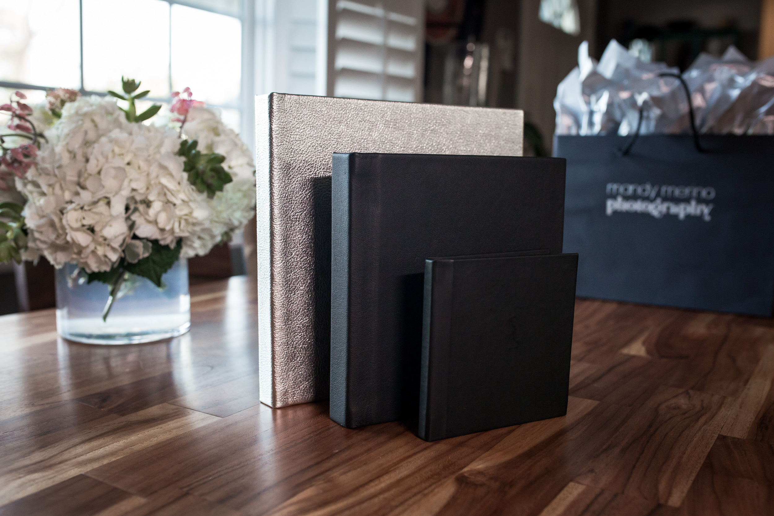 Custom designed album with leather or linen cover (choice of color)