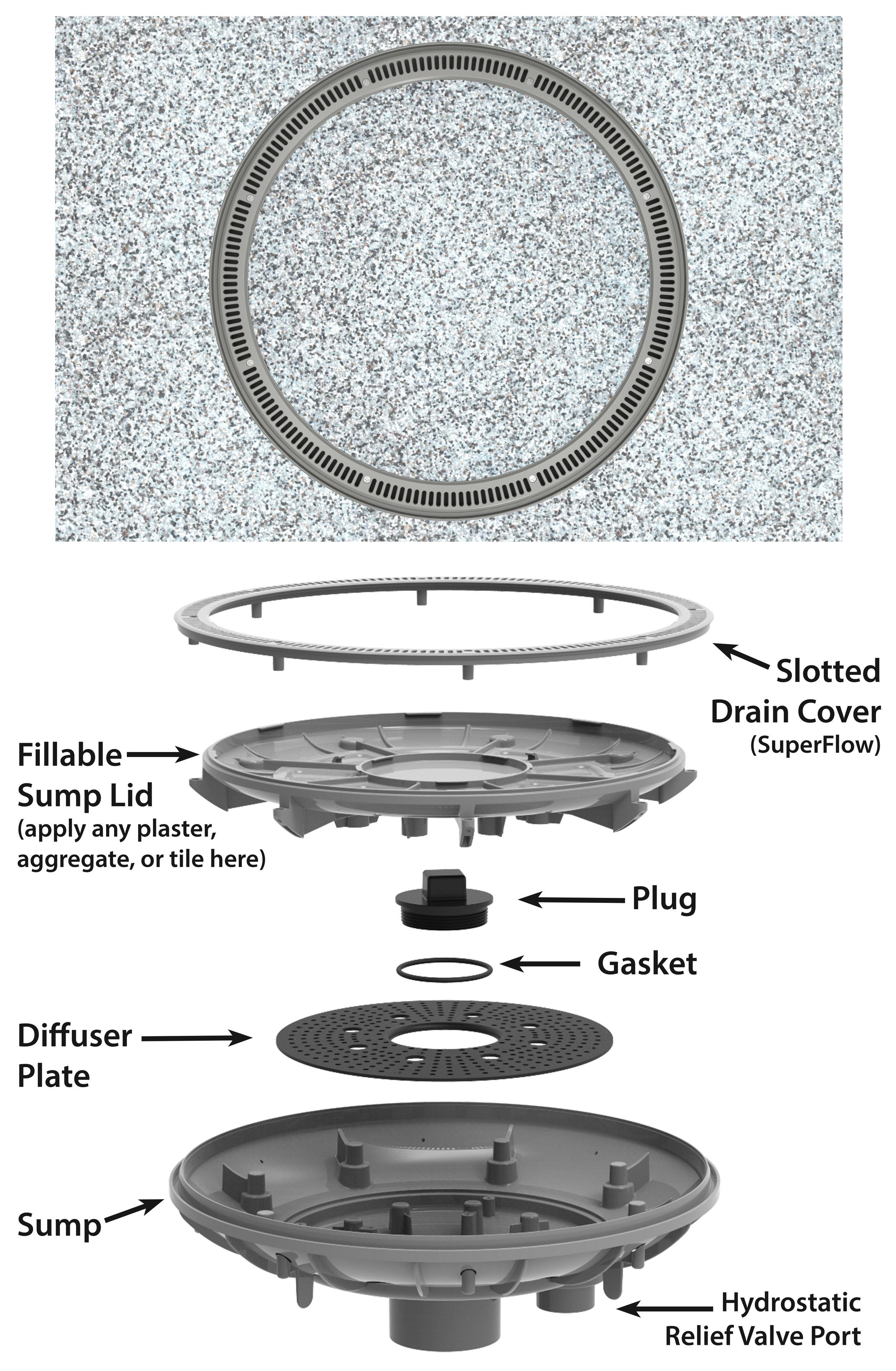 360 Pebble Top Drain Parts