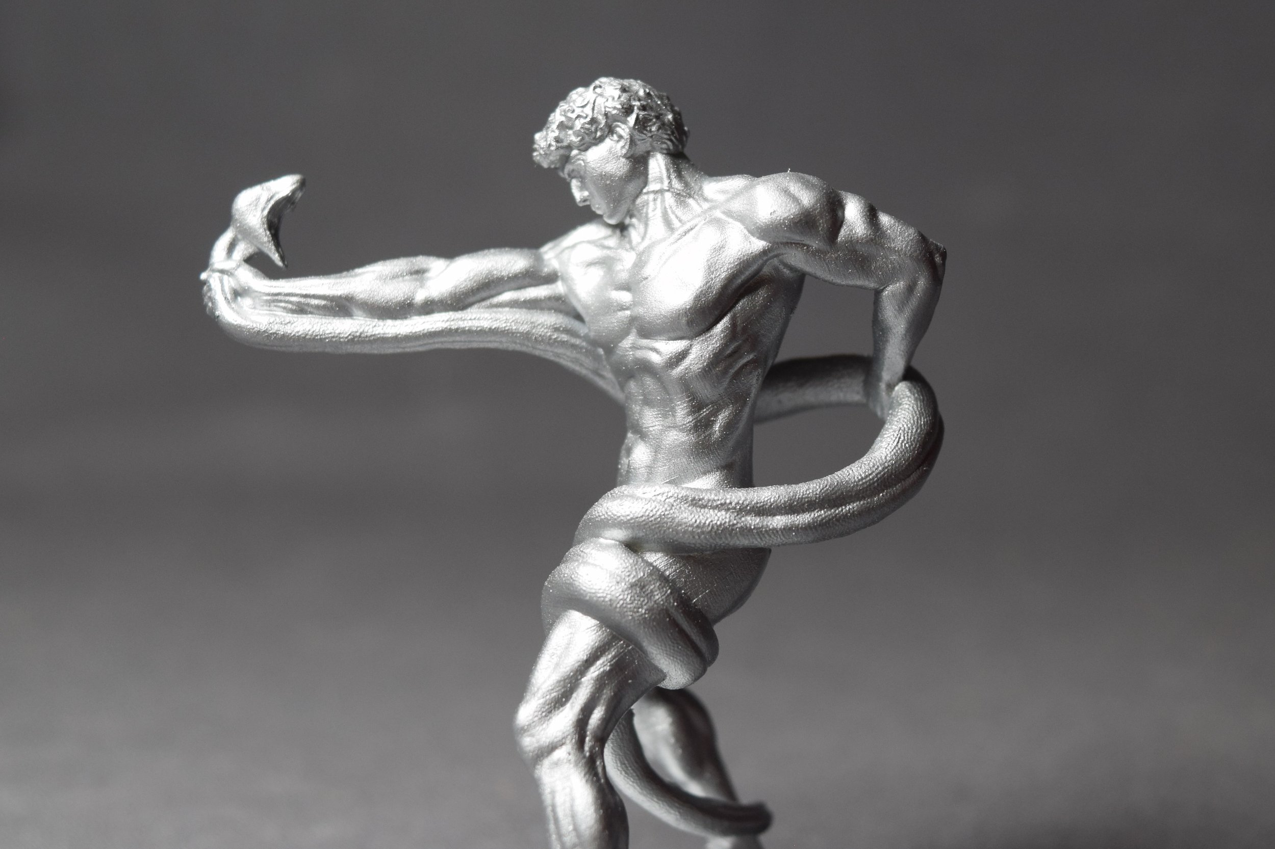 Man Fighting Python; Printed in Grey at 50microns on the Form2 then Spray Painted Silver
