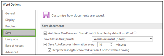 How to disable autosave in Office 365 programs
