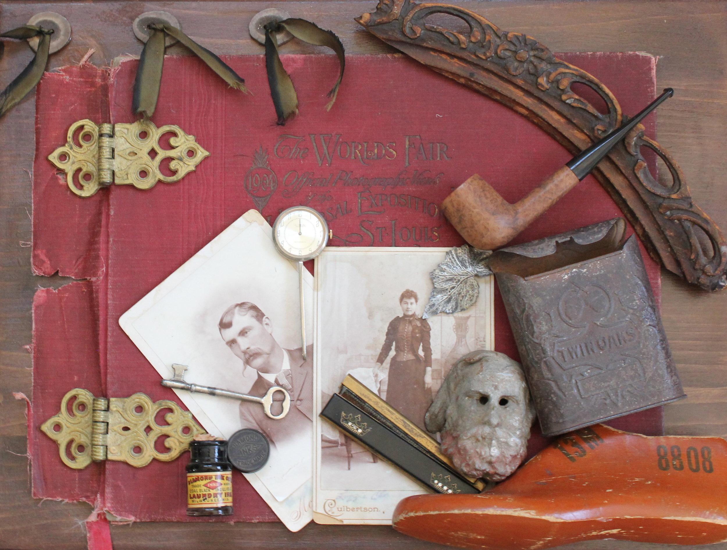 """Meet Me at the Fair""  Materials used: St. Louis World's Fair album cover, antique photos and ephemera"