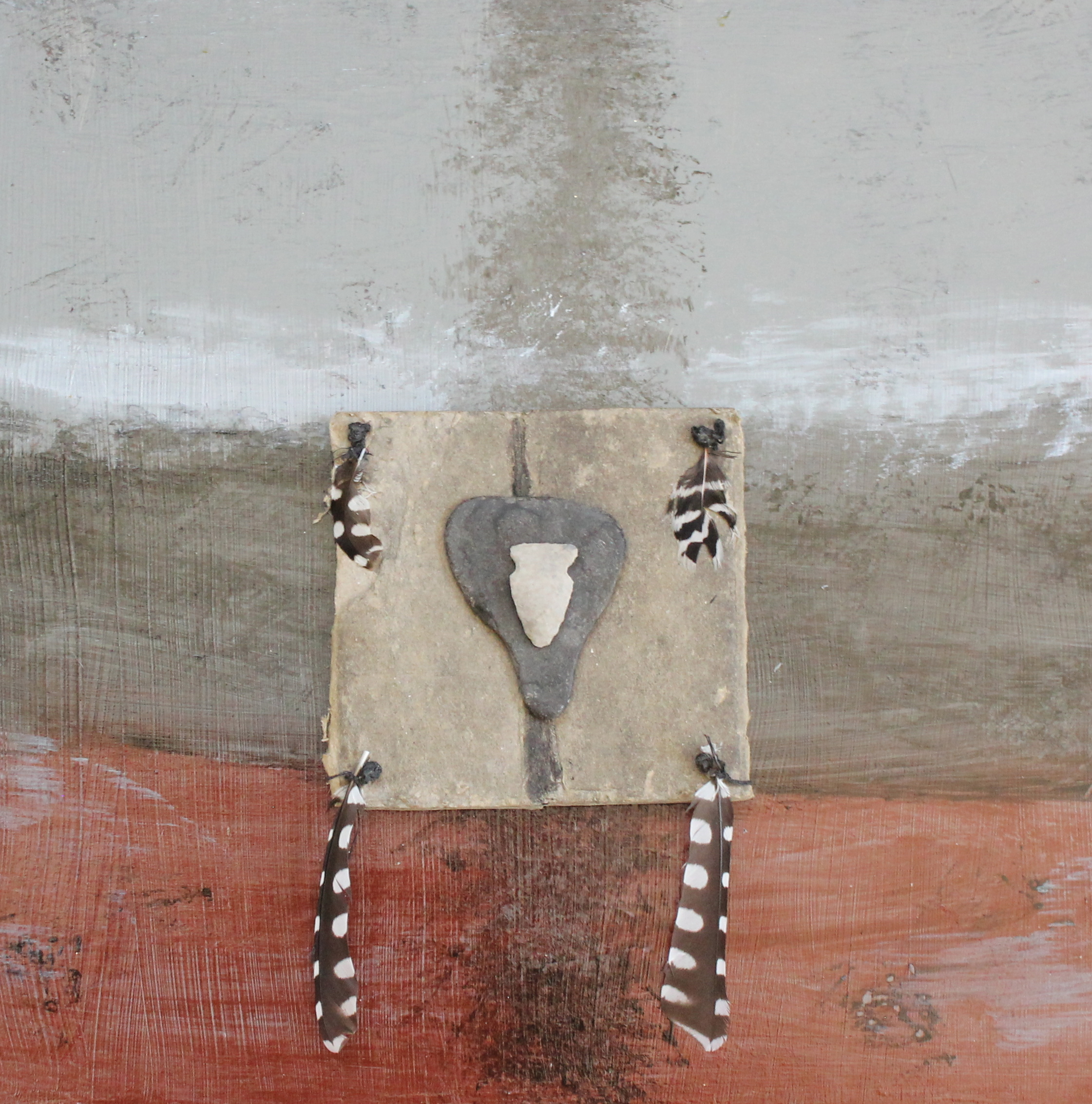 """""""Standing for Standing Rock""""  50% of sales proceeds go to the Sioux at www.standingrock.org  Materials used; Paper, 2 arrow heads, feathers on acrylic painted museum board"""