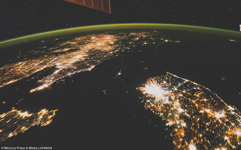 North Korea is the dark space between China and South Korea. Image taken by  the International Space Station. Photo Credit: Mercury Press/NASA