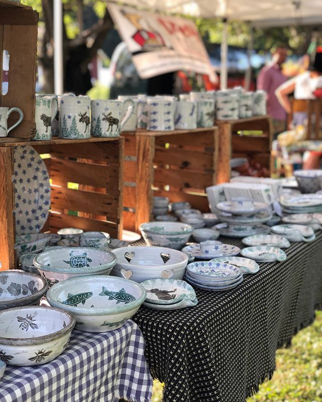 Happy Farmers Market Friday! Come check out our local vendors, including Susan Leaders gorgeous handmade pottery! See you there between 4 and 7 p.m. #ShopLocal