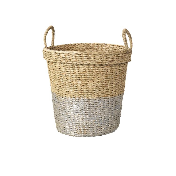 Sea grass basket with silver stripe - £38.99