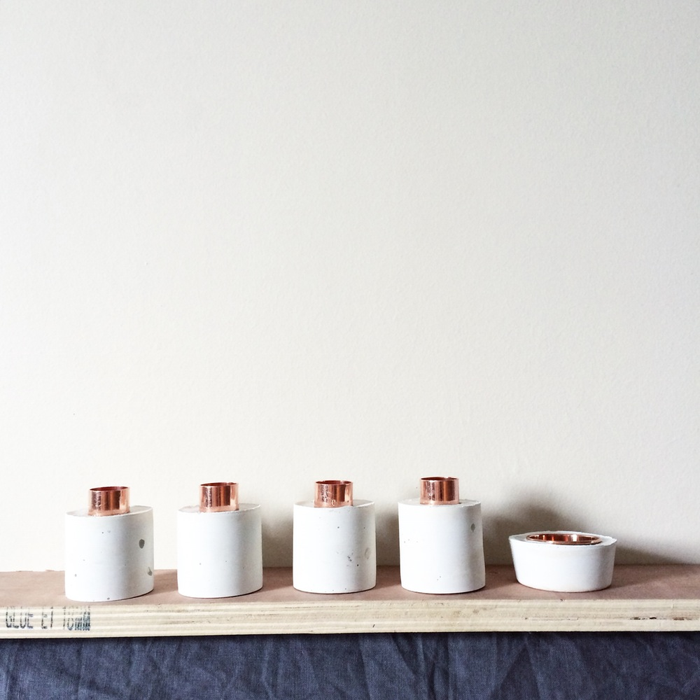 white edition concrete and copper candle holder -£10
