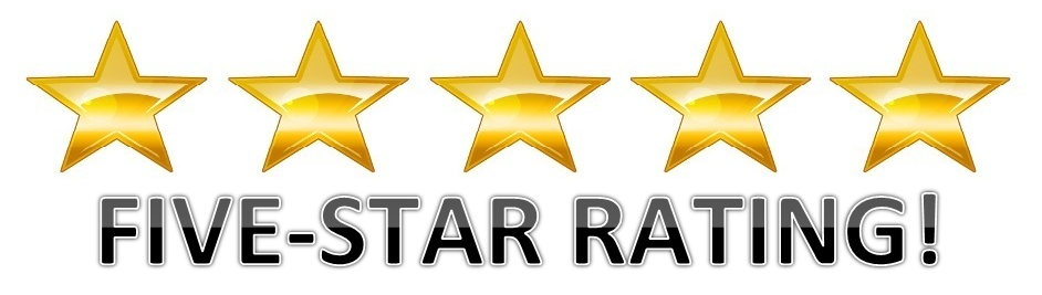 """Image of 5 stars with words """"Five Star Rating"""""""