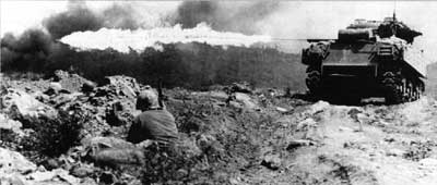 A flame tank on Iwo Jima
