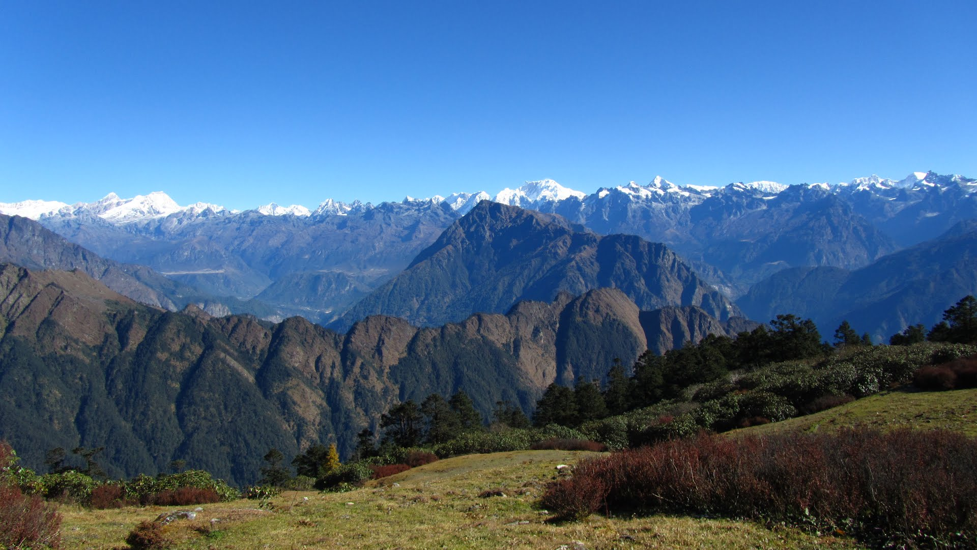 The view from Nepal, across the Himalayas into Tibet