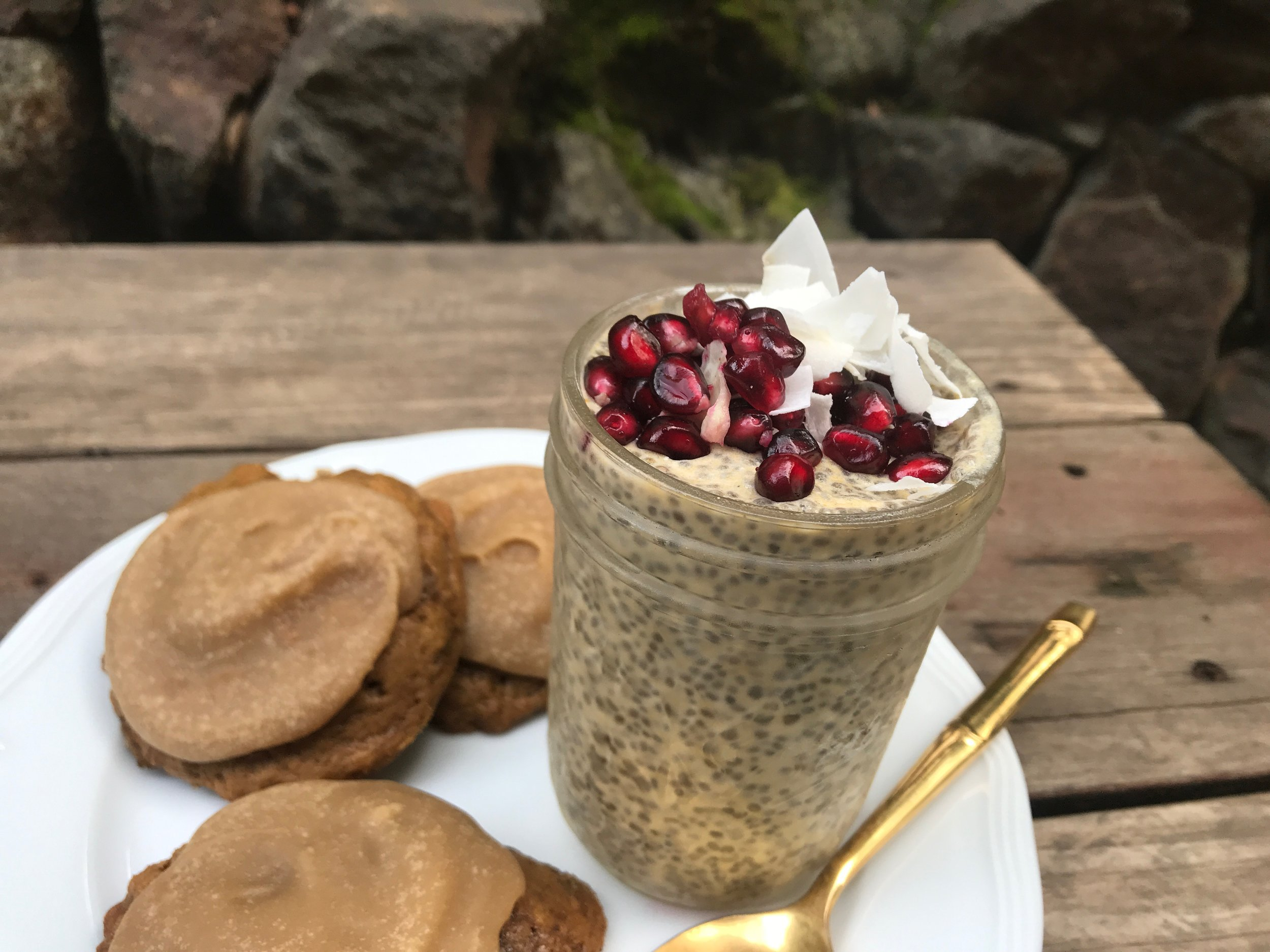 Pumpkin Spice Chia Seed Pudding and the cookies that inspired it.