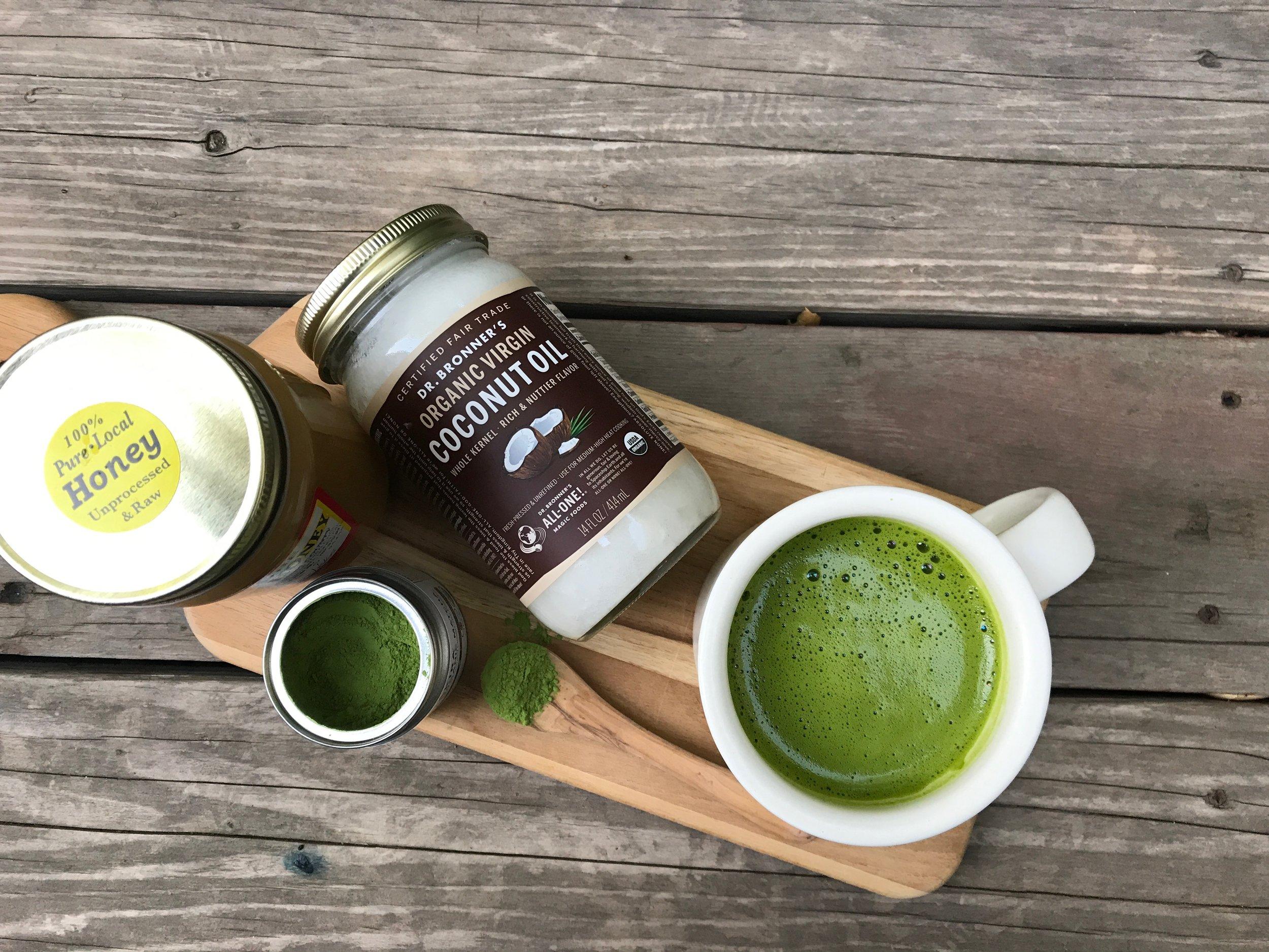 Local, raw honey,  Matcha Konomi's Akira Matcha ,  Dr. Bronner's Organic Virgin Coconut Oil .