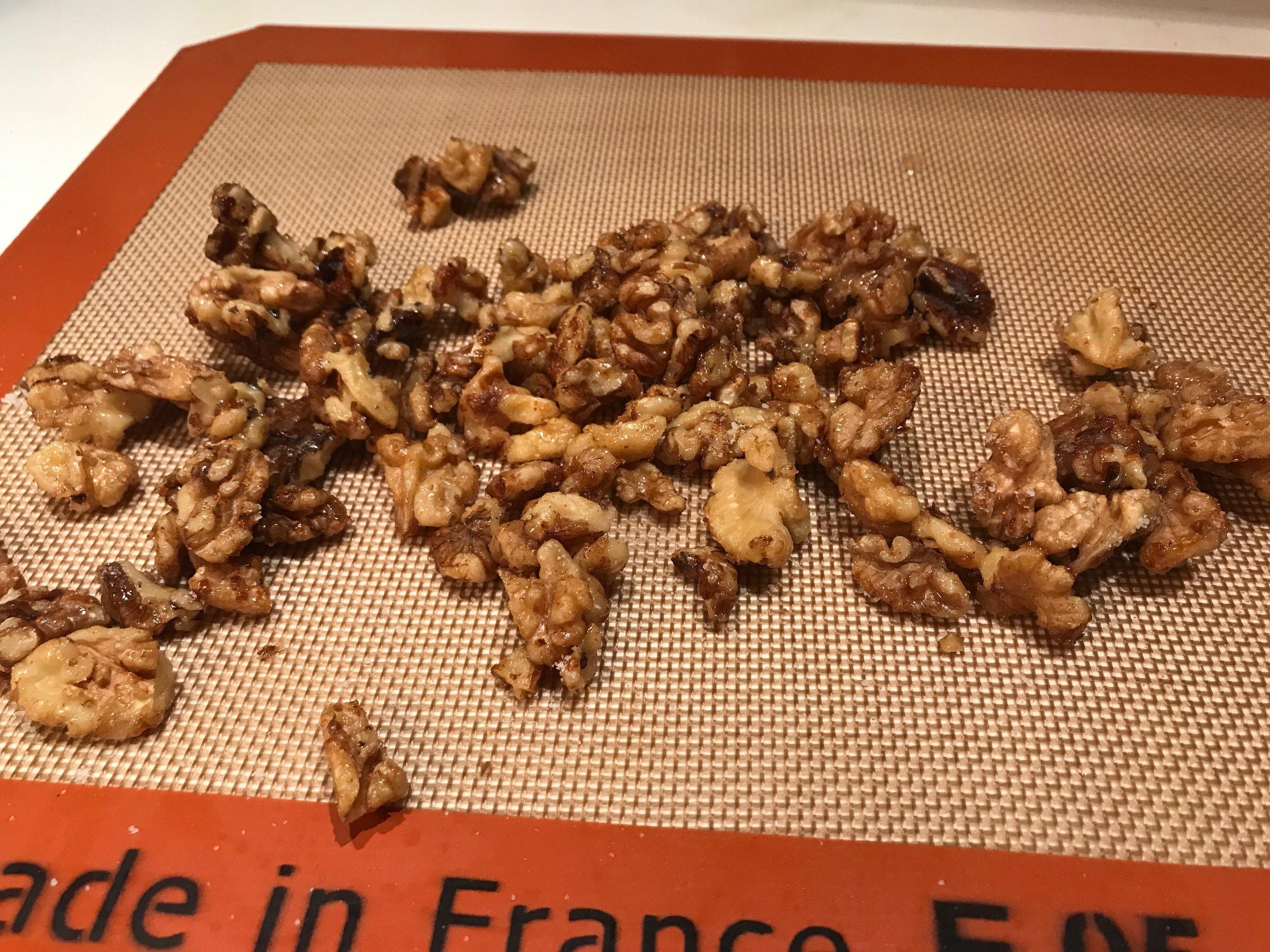 Maple cayenne walnuts cooling.