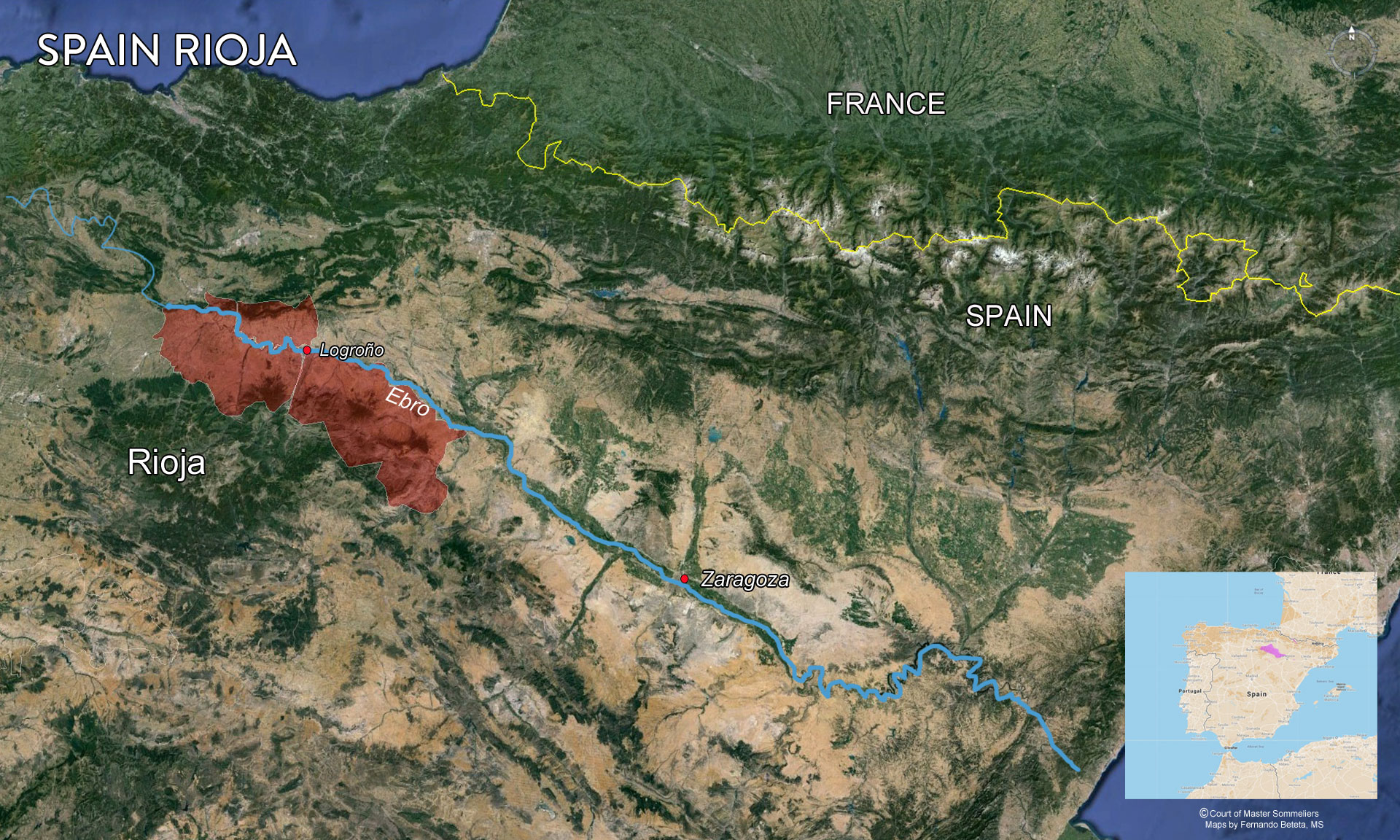 Overview of Rioja wine region and river Ebro.