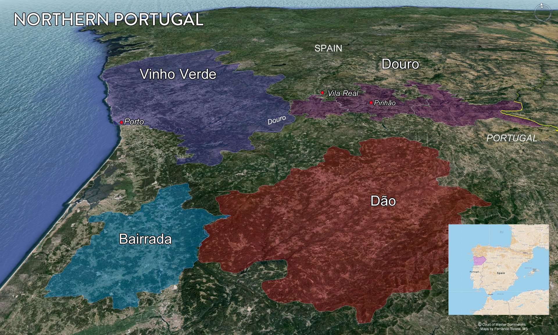 Northern Portugal wine map