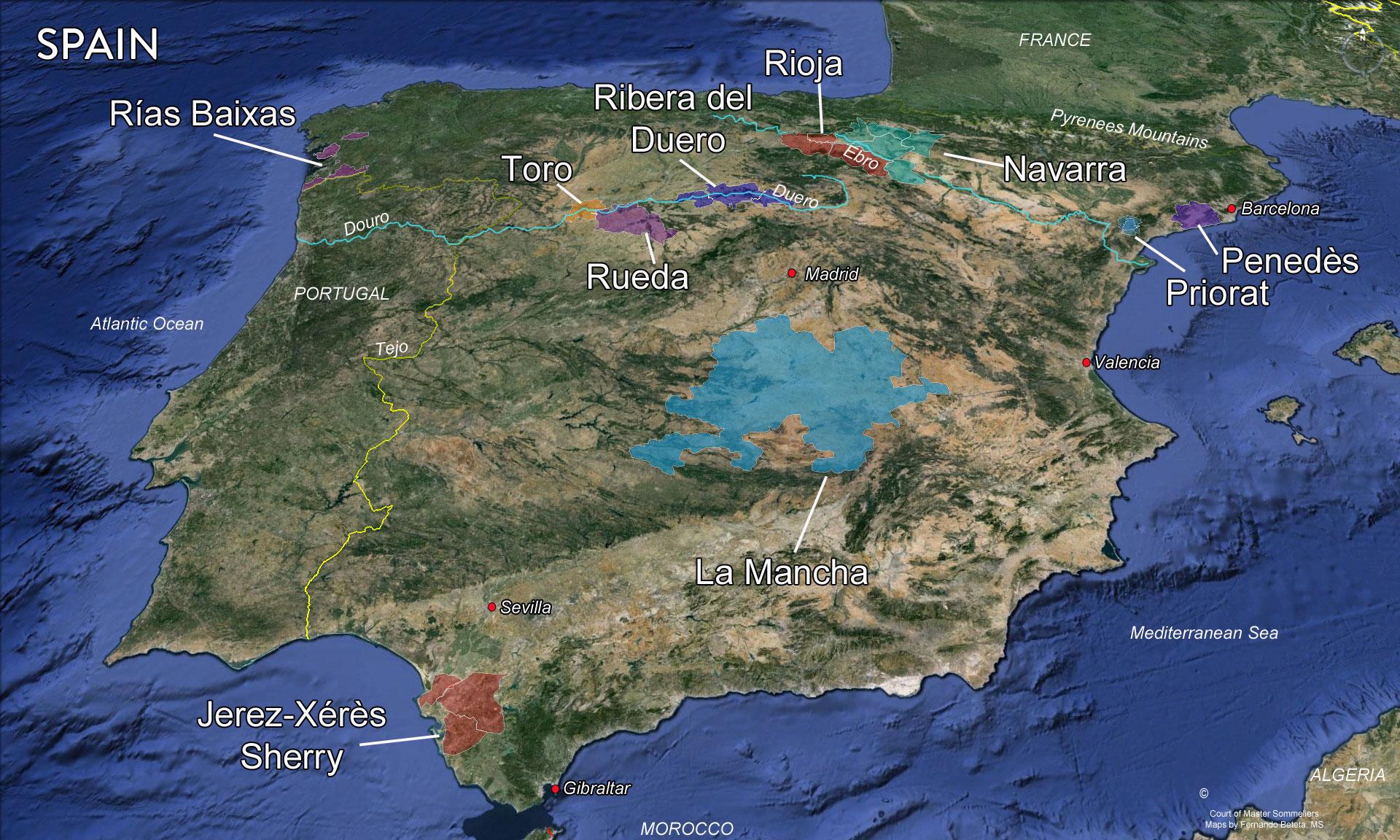 Spanish Wine Regions Map