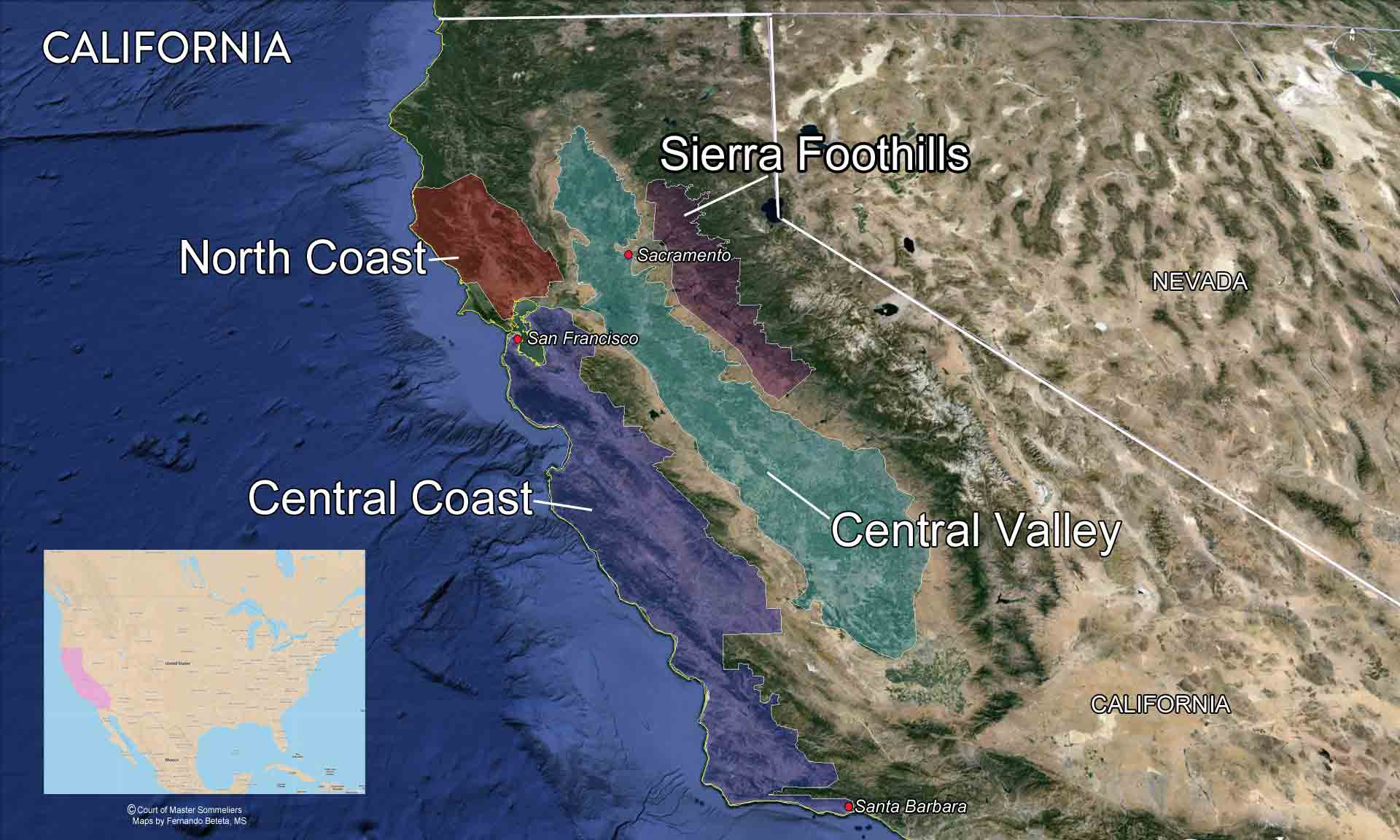 Map major California Wine regions