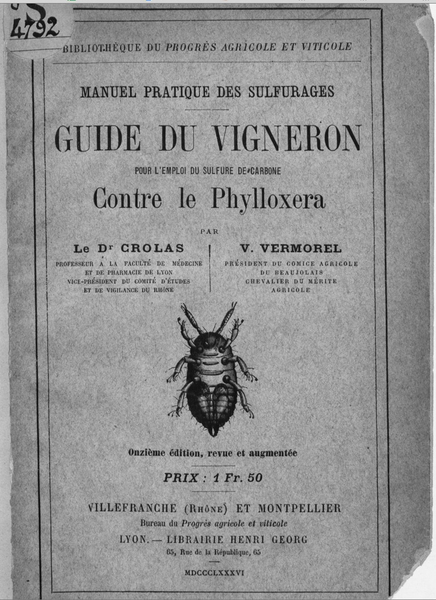 1880 French guide for grape growers on how to combat Phylloxera with sulphur.