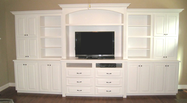 Custom designed and built entertainment center