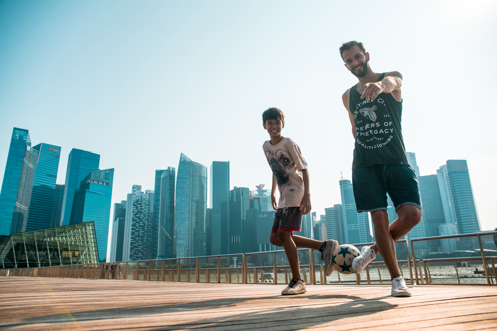 Meeting up with the local freestyle football community in Singapore.