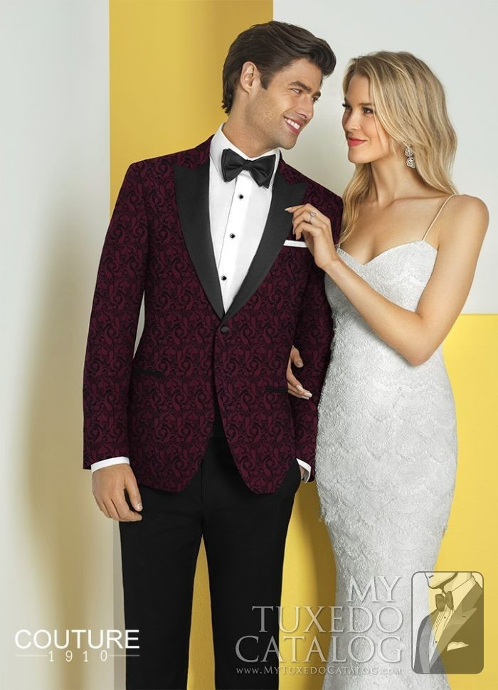 Burgundy 'Chase' Ultra Slim Tuxedo by Couture 1910