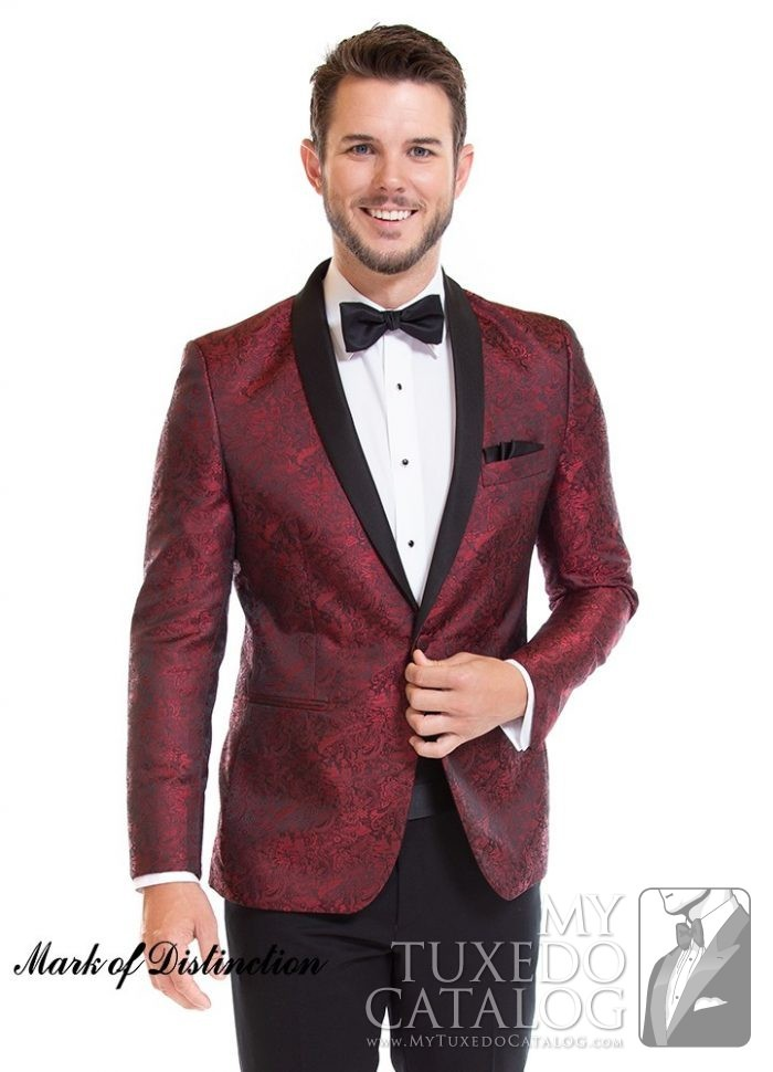 Apple Red Paisley 'Aries' Slim Tuxedo by Larr Brio
