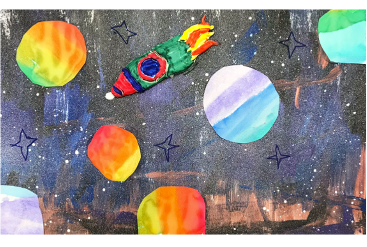 Space Paintings: Mixed Media Collage with Model Magic, Watercolor, and Tempera   1st Grade  Prospect Hill Elementary School