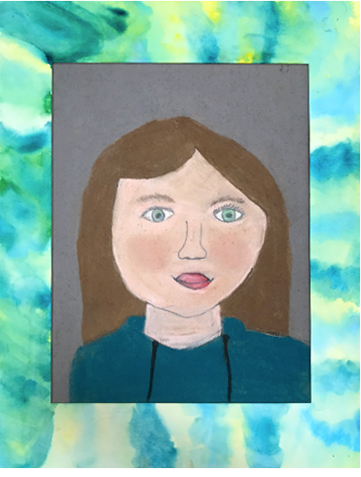 Self Portrait in Pastel, Marker, and Tissue Paper   5th Grade  Prospect Hill Elementary School
