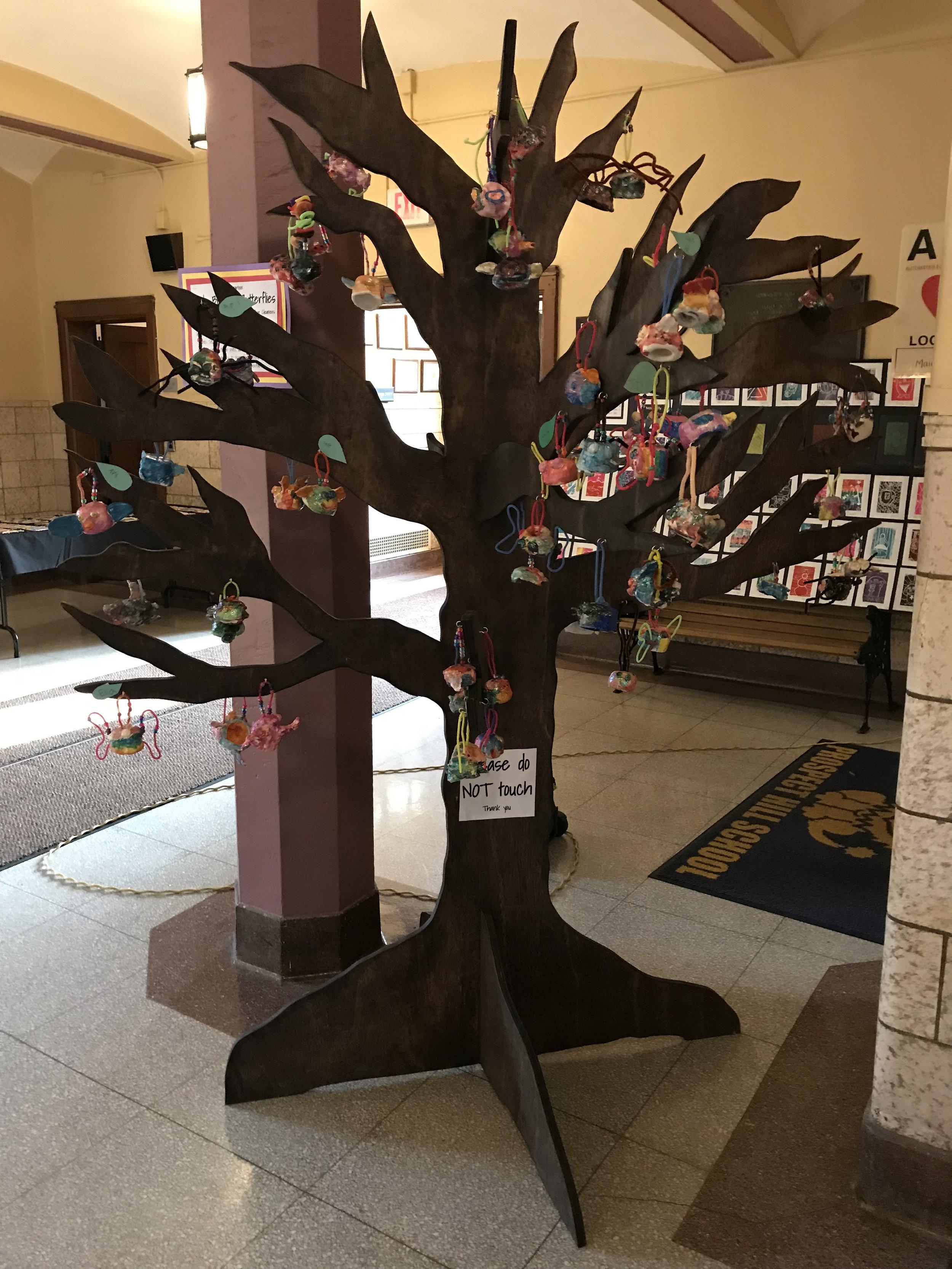 Birds, Bugs, & Butterflies, hung on custom made tree for display   Kindergarten  Prospect Hill Elementary School