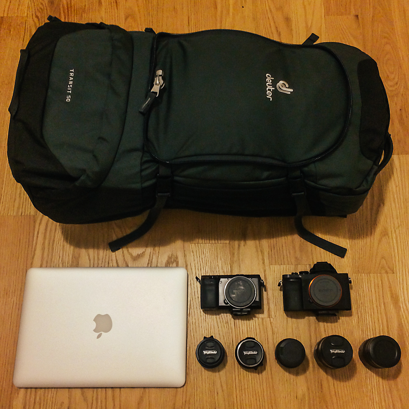 "TRAVELING LIGHT. DEUTER 50 LITER PACK, 13"" MACBOOK AIR, SONY A7R, SONY NEX-7, VOIGTLANDER 21MM, VOIGTLANDER 35M, LEICA SUMMICRON 50MM, VOIGTLANDER 75MM, LEICA SUMMICRON 90MM"