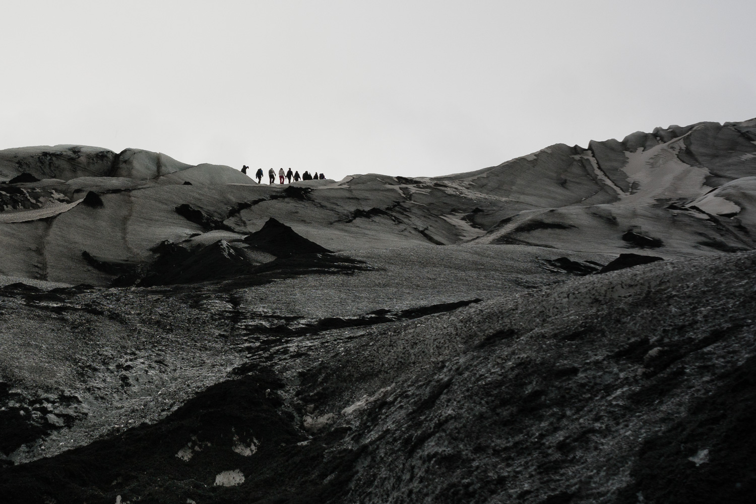 This isn't a monochrome photo rather a volcanic landscape completely void of color.